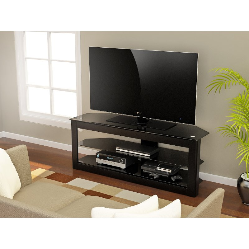 Rc Willey Electronics: 55 Inch Piano Black TV Stand - Maxine