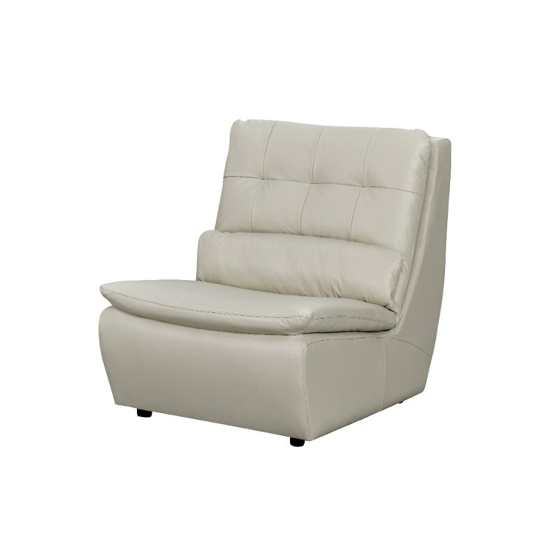 off white leather swivel armless chair