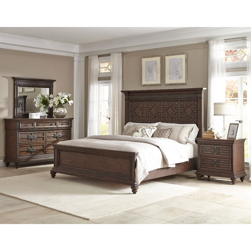 palencia rustic brown 6 piece cal king bedroom set