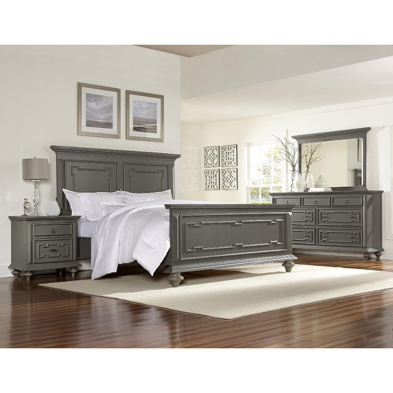 Asher lane gray 6 piece queen bedroom set Gray bedroom furniture
