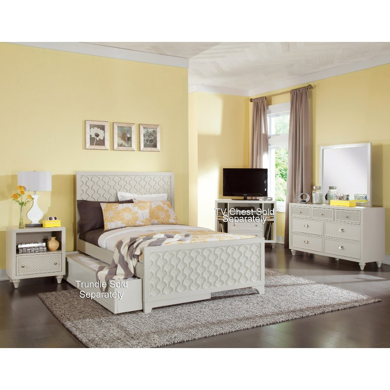Amanda dove grey 6 piece full bedroom set for Full bedroom furniture sets
