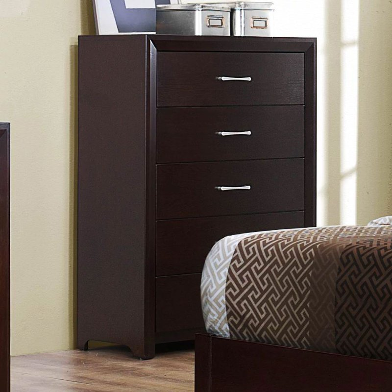 Contemporary Espresso Chest Of Drawers Edina