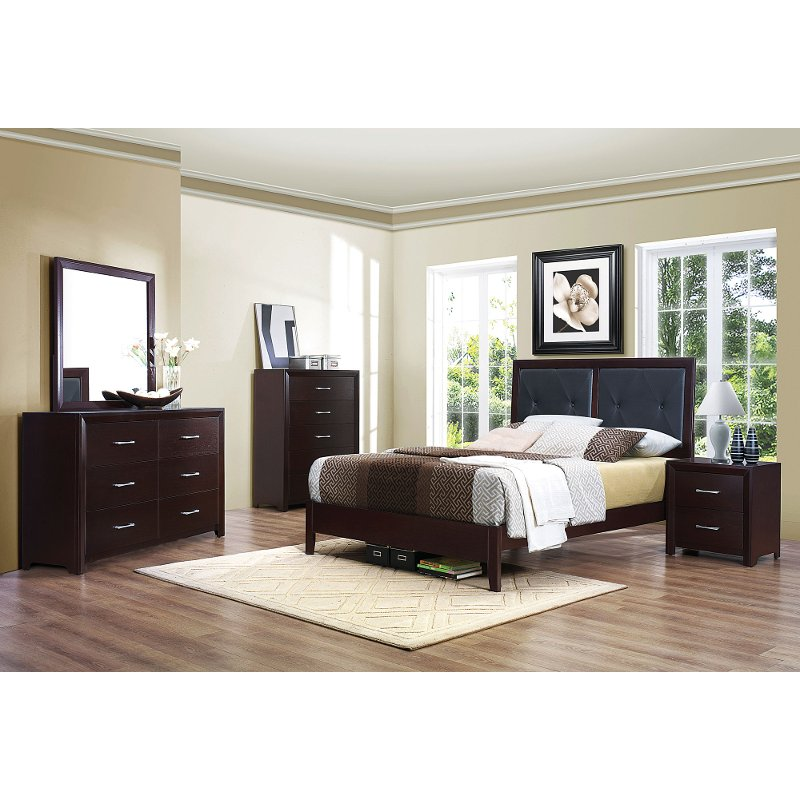 Contemporary Casual Espresso 4 Piece Queen Bedroom Set Edina
