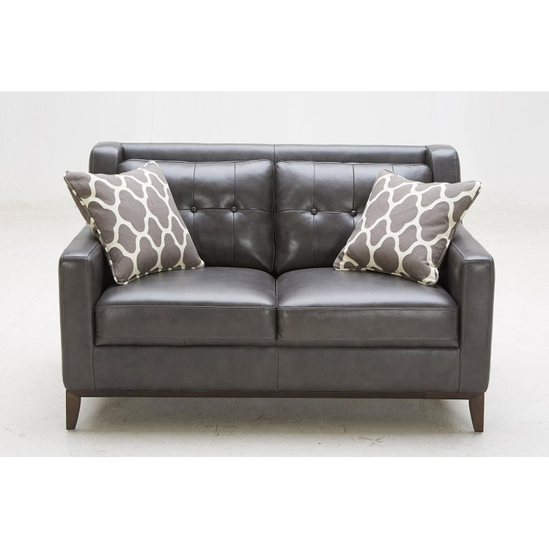 Furniture Store Contemporary: Contemporary Charcoal Leather Loveseat - Nigel