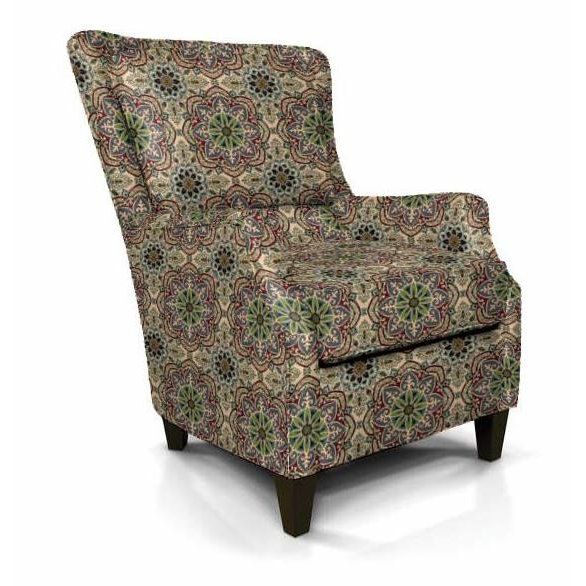 Contemporary Red And Green Wing Chair   Loren