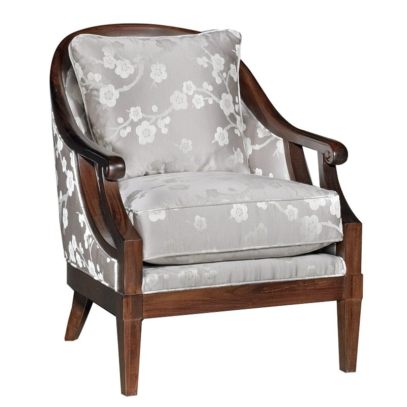 Melody Gray Floral Upholstered Traditional Accent Chair