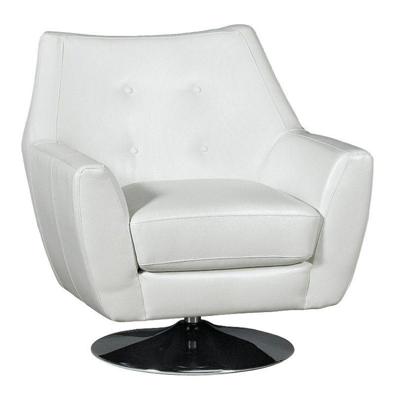Ordinaire Modern White Swivel Barrel Chair   Ontario