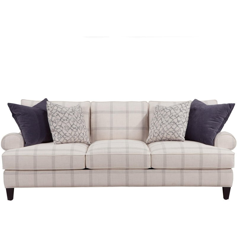 plaid sofas lottie 91 pewter plaid upholstered sofa. Black Bedroom Furniture Sets. Home Design Ideas