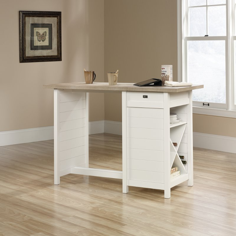 Soft White Counter Height Work Table Cottage Road Rc Willey Furniture