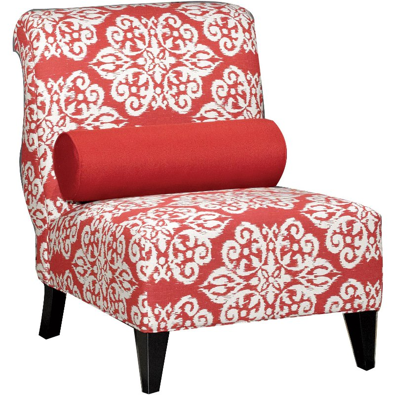 Kasey 30 Red Pattern Upholstered Accent Chair