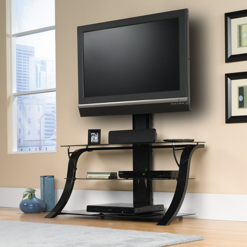 Black Black Glass Tv Stand With Mount Rc Willey Furniture Store