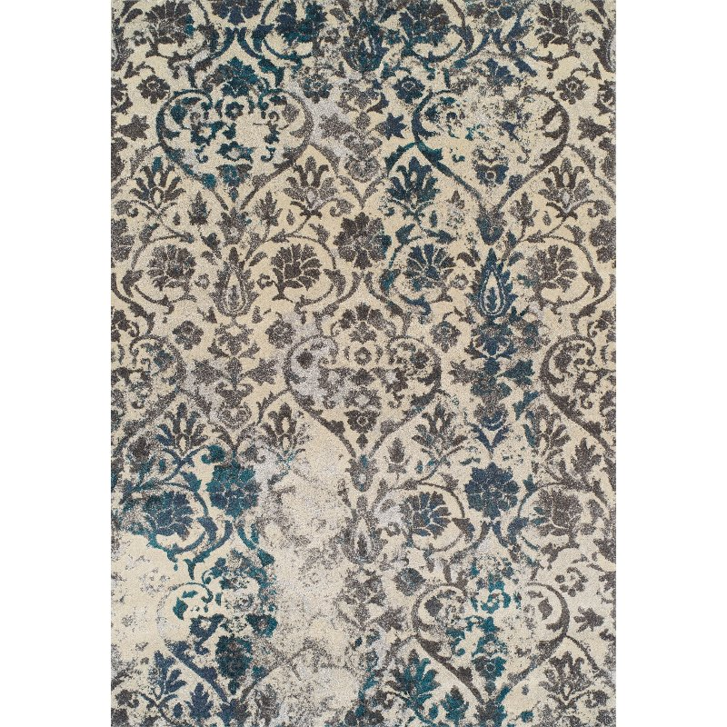 8 X 11 Large Teal And Gray Area Rug - Modern Grays