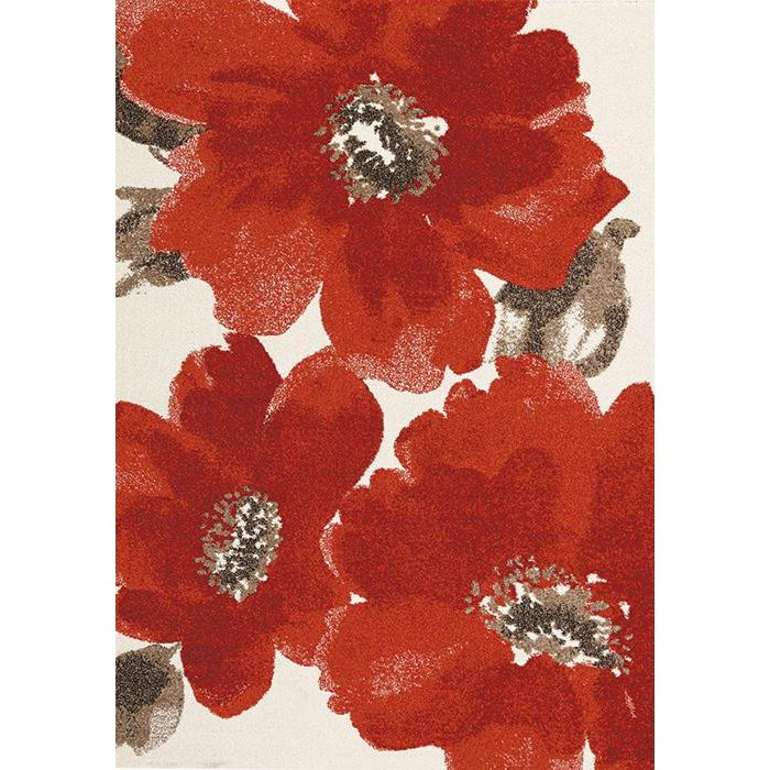 Medium Fl Red And Brown Area Rug