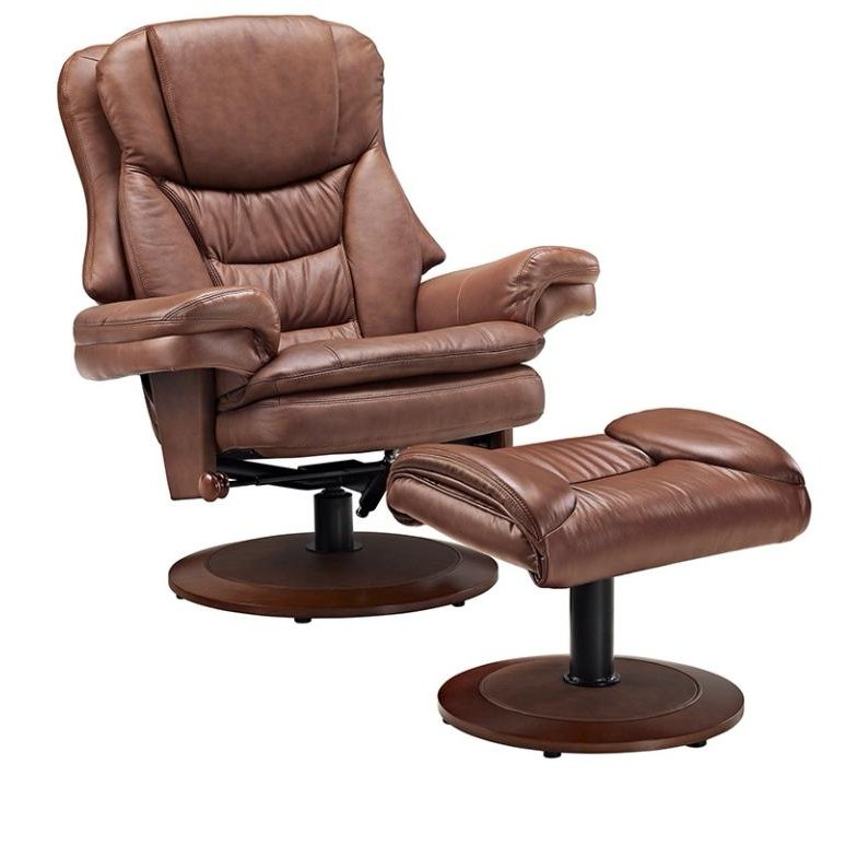Mac Motion Saddle Leather Swivel Recliner With Ottoman