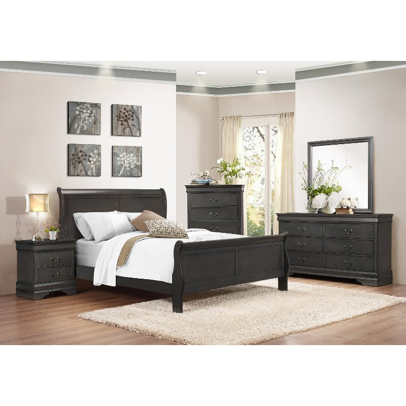 Bedroom Sets Furniture Stores: Slate Gray 6 Piece Queen Bedroom Set - Mayville