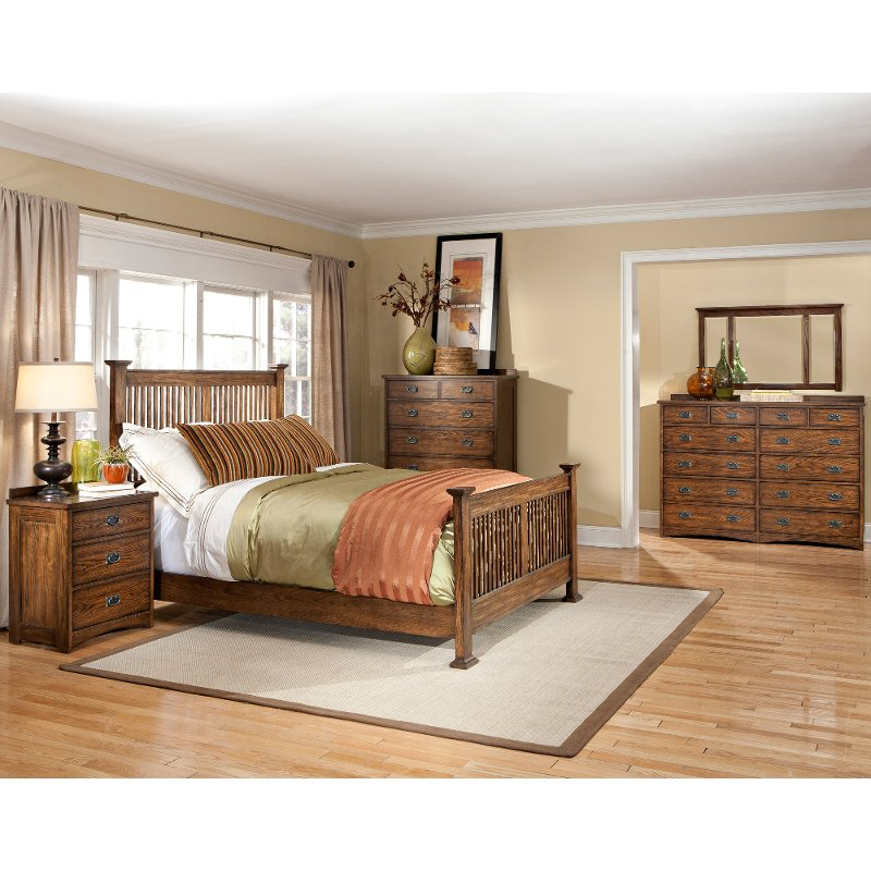 Mission Oak 4 Piece King Bedroom Set - Oak Park