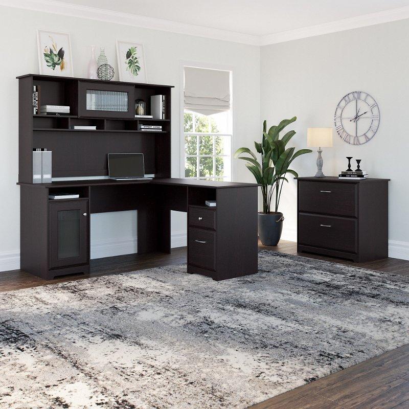Espresso Oak L Desk With Hutch And Lateral File Cabot