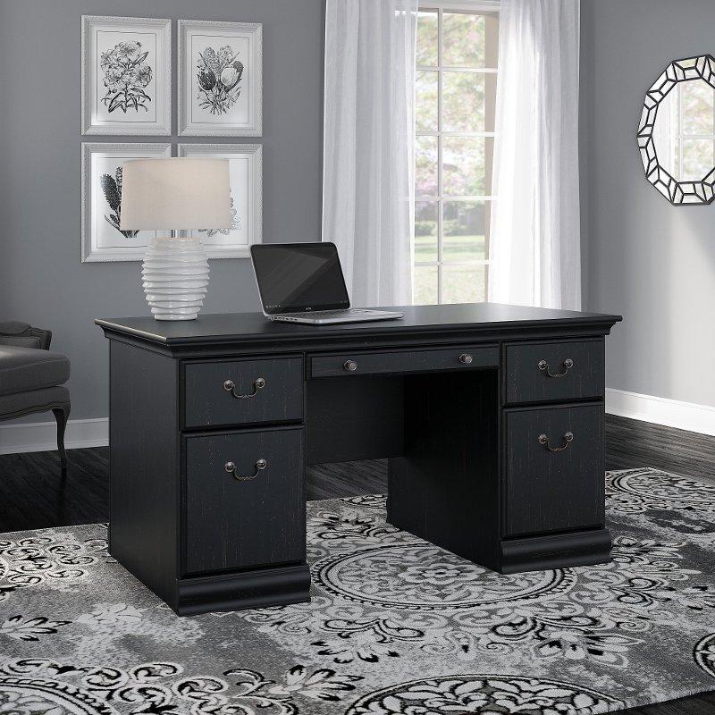 Antique Black Executive Desk 60 Inch Birmingham Rc Willey Furniture