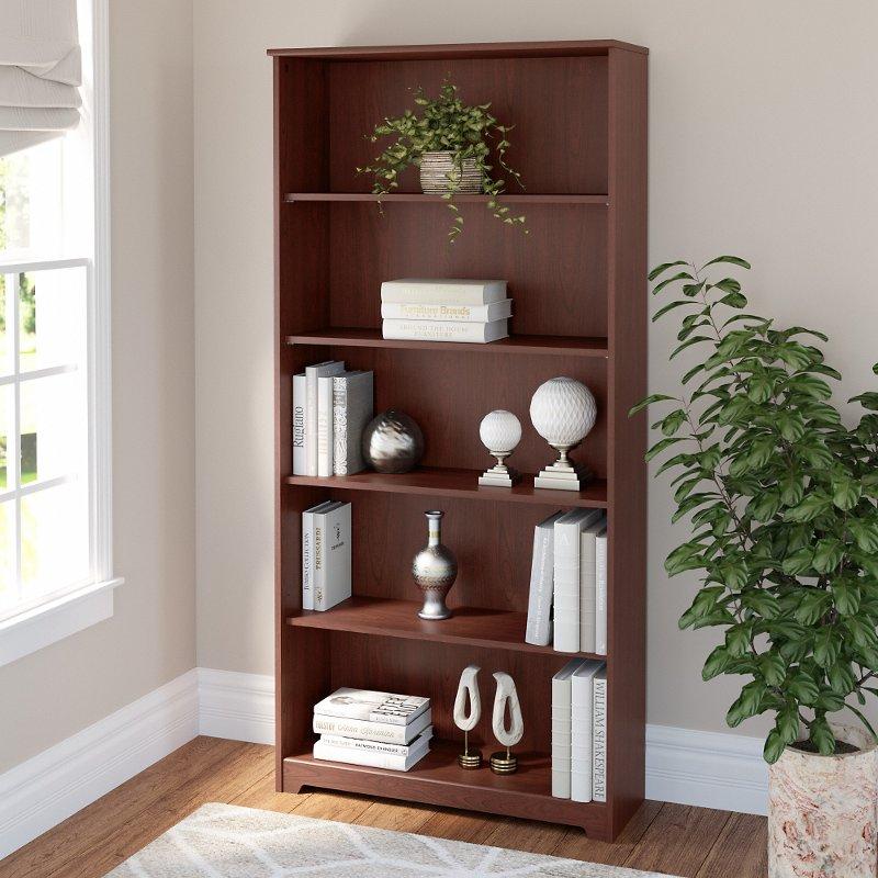 Cherry 5 Shelf Bookcase Cabot