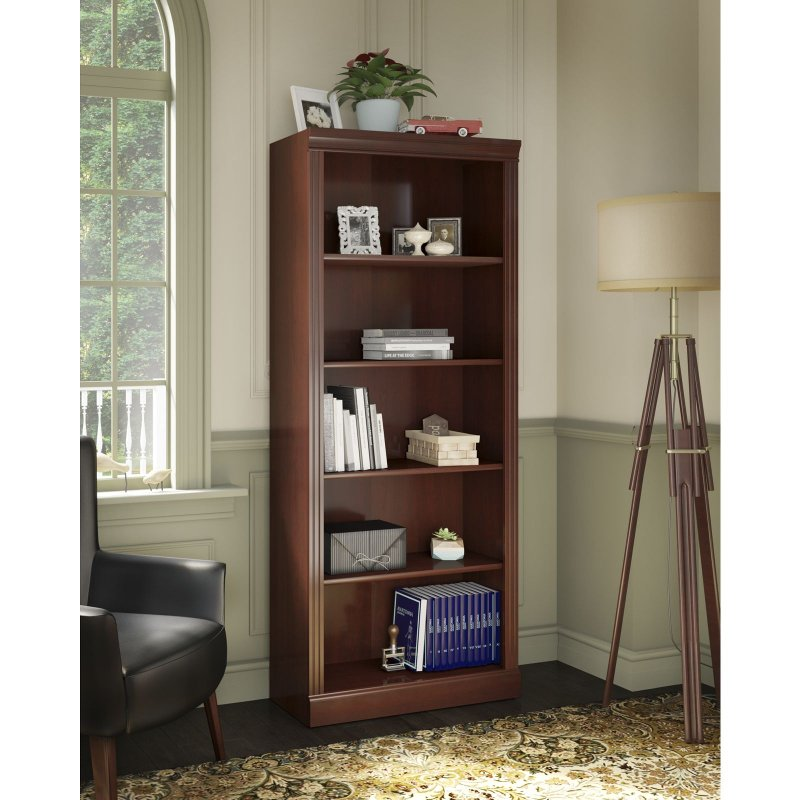 Kathy Ireland Cherry 5 Shelf Bookcase Bennington Rc Willey