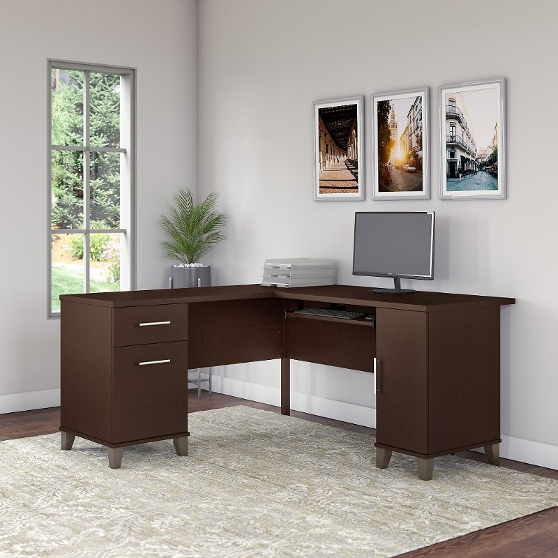 Mocha Cherry 60w L Shaped Desk Somerset Rc Willey