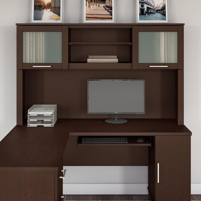Mocha Cherry 60W L Shaped Desk Hutch - Somerset