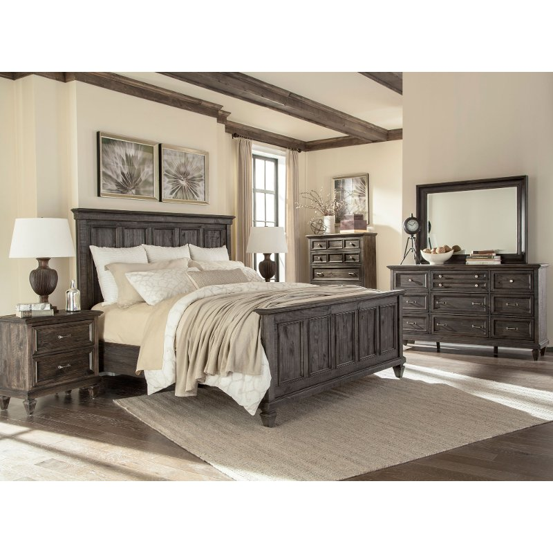 charcoal gray 4 piece queen bedroom set calistoga rc willey rh rcwilley com Rustic Bedroom Set Gray White Bedroom Sets