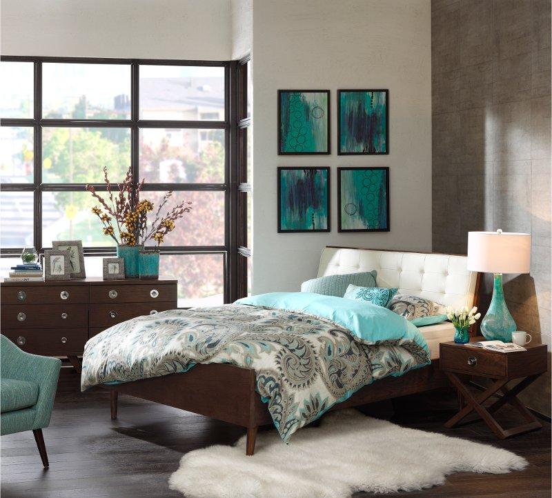 Ink Ivy Cosmo Pecan 6 Piece Queen Mid Century Modern Bedroom Set