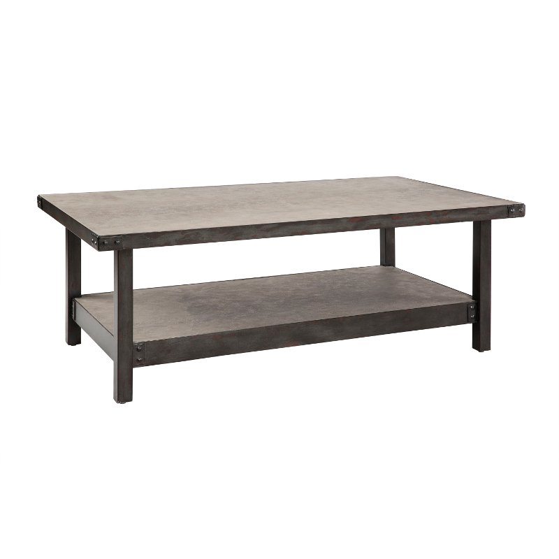 Ink ivy concrete metal rustic industrial coffee table Industrial metal coffee table