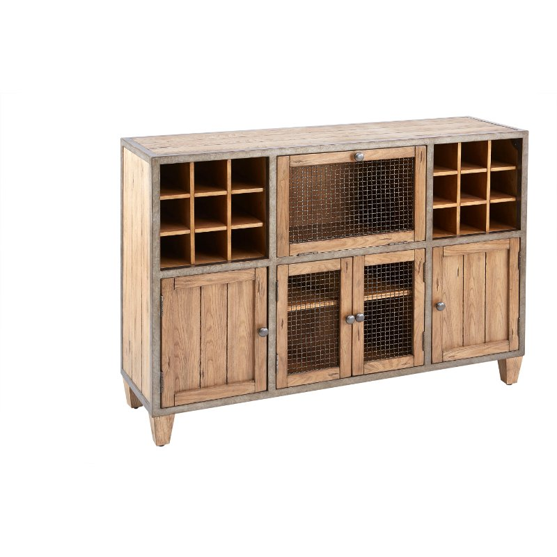 Ink Ivy Cirque Wood Metal Rustic Industrial Liquor Bar Cabinet