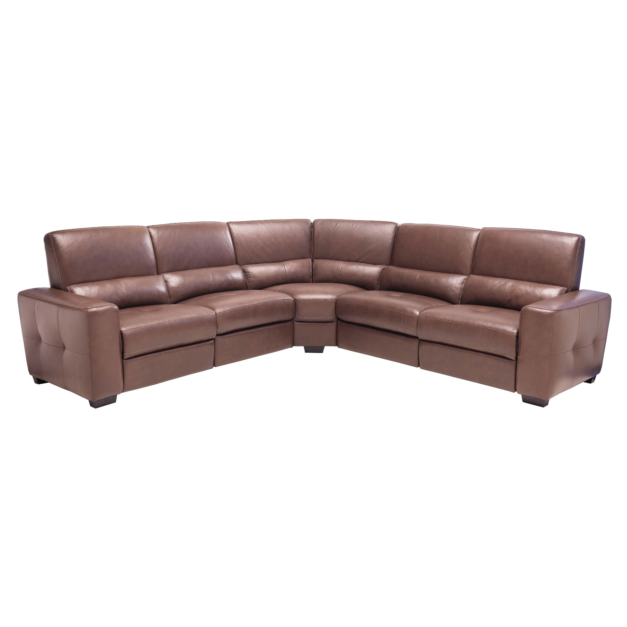 Brown leather 5 piece power reclining sectional for Eurodesign brown leather 5 piece sectional sofa set