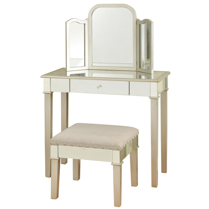 Silver Leaf Mirror Vanity Set