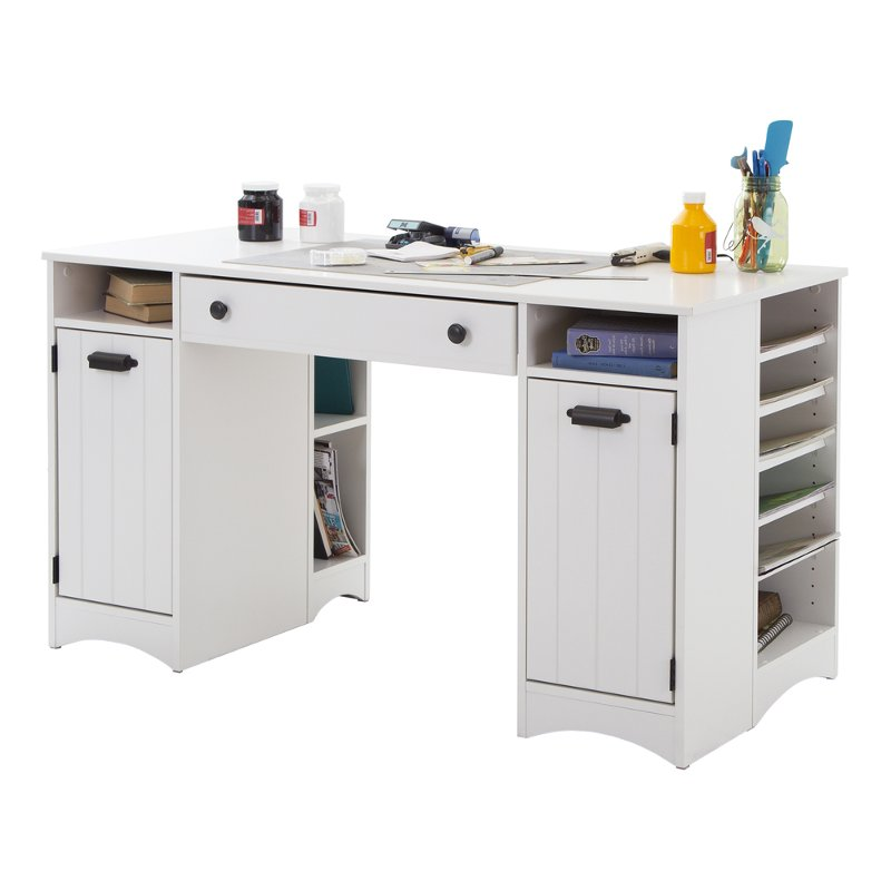 White Craft Table With Storage Artwork Rc Willey Furniture Store