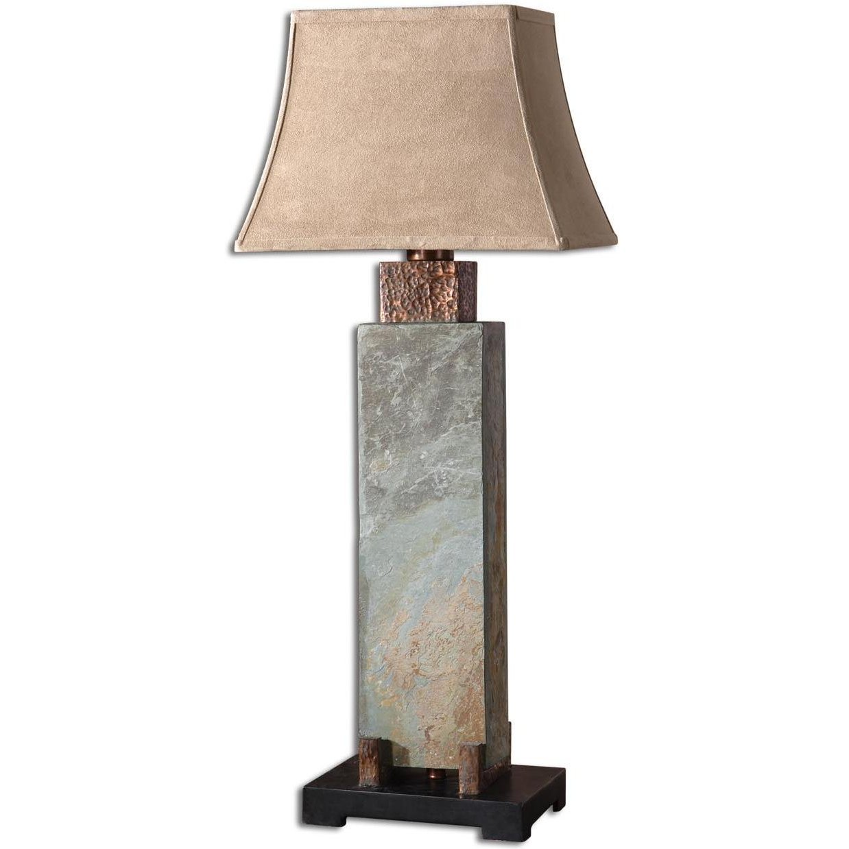Tall Slate and Hammered Copper Table Lamp | RC Willey ...