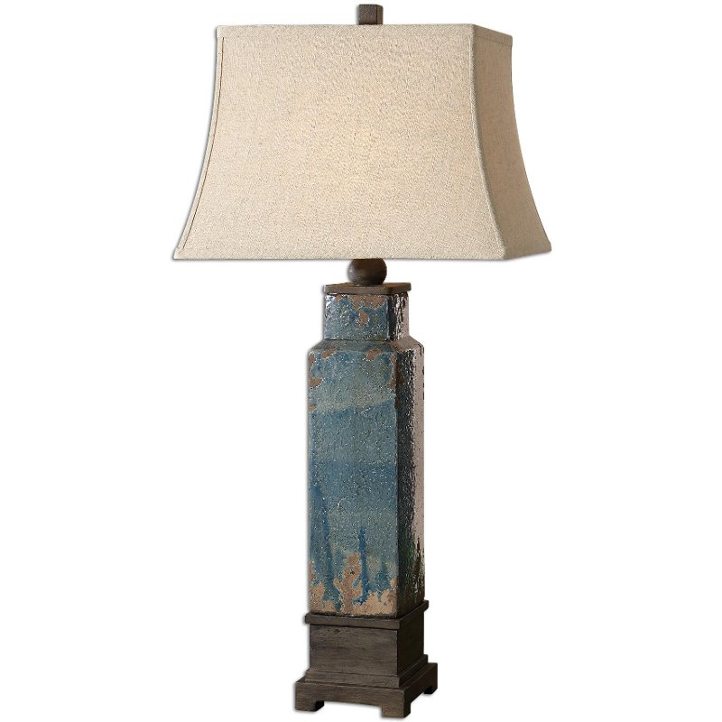 Distressed Blue Glaze Ceramic Table Lamp Rc Willey