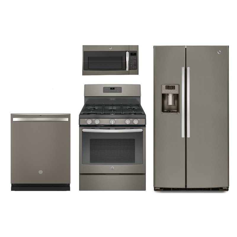 GE 4 Piece Gas Kitchen Appliance Package with Side by Side Refrigerator -  Slate