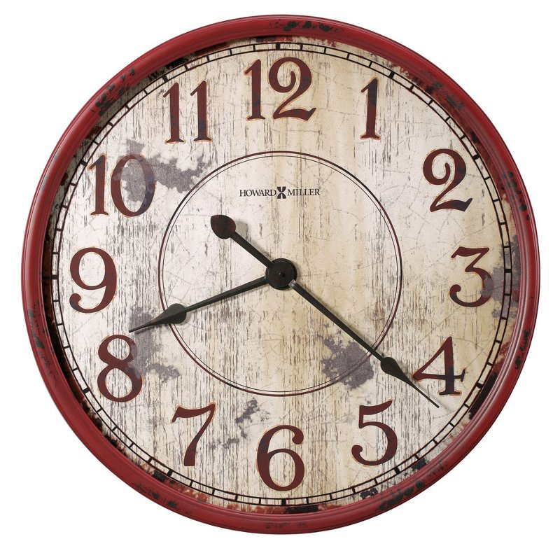 Red Distressed Face Wall Clock