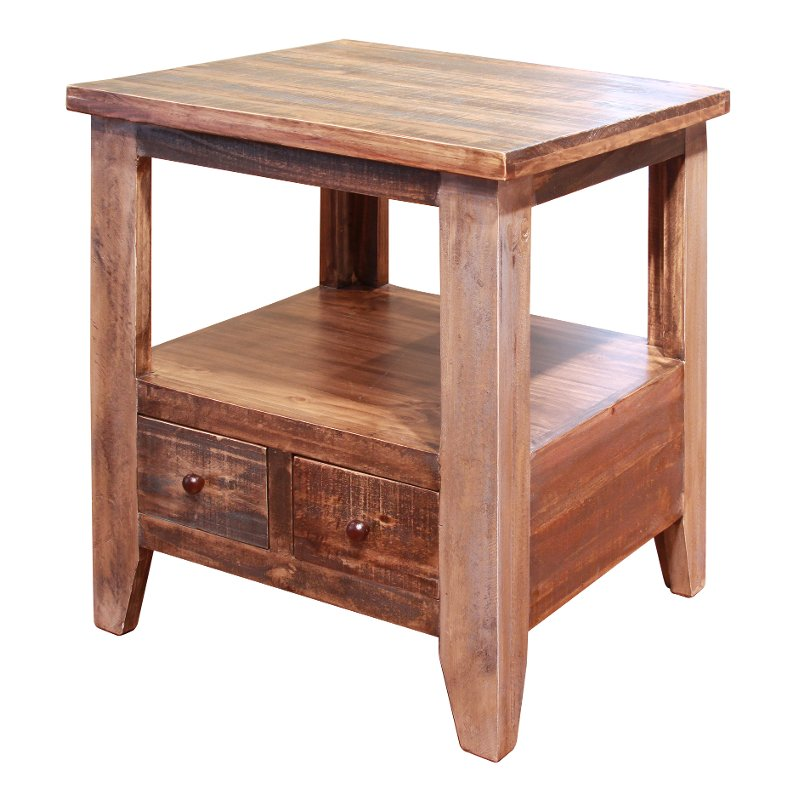 Rc Willey Boise Idaho: Rustic Pine End Table - Antique