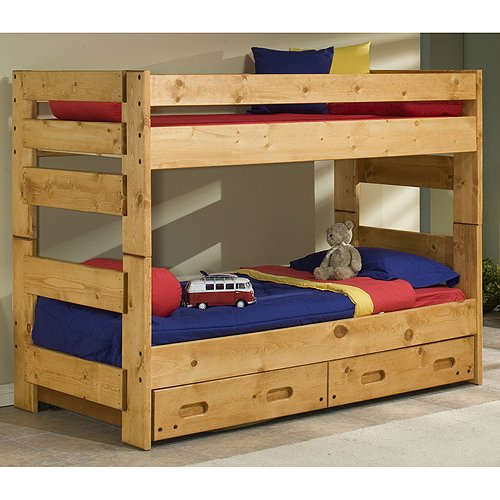 Cinnamon Rustic Pine Twin-over-Twin Bunk Bed With Drawers