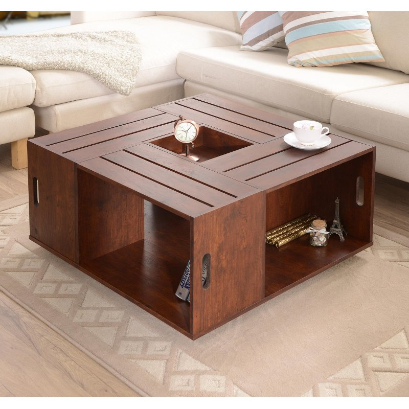 Maylena vintage walnut crate coffee table for Coffee table from wooden crates
