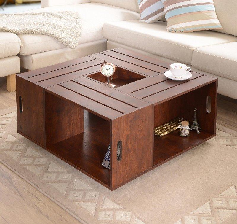 Maylena Vintage Walnut Crate Coffee Table