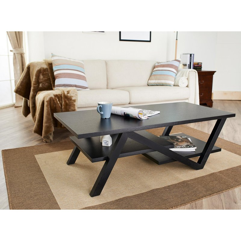 Skyler black coffee table for Furniture of america architectural inspired dark espresso coffee table