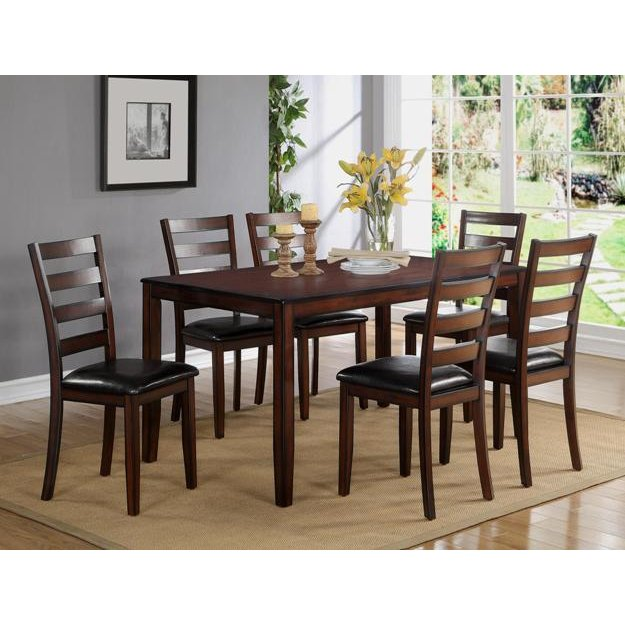 Dark Brown 7 Piece Dining Set   Traditional Tahoe Mango