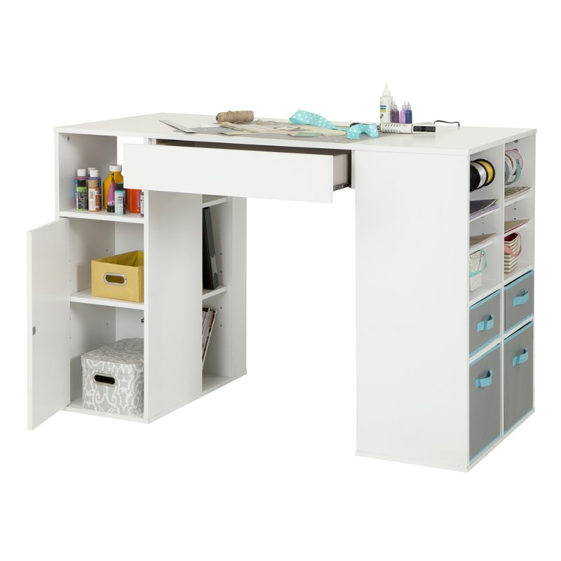 Crea white craft table with storage for Craft desk with storage