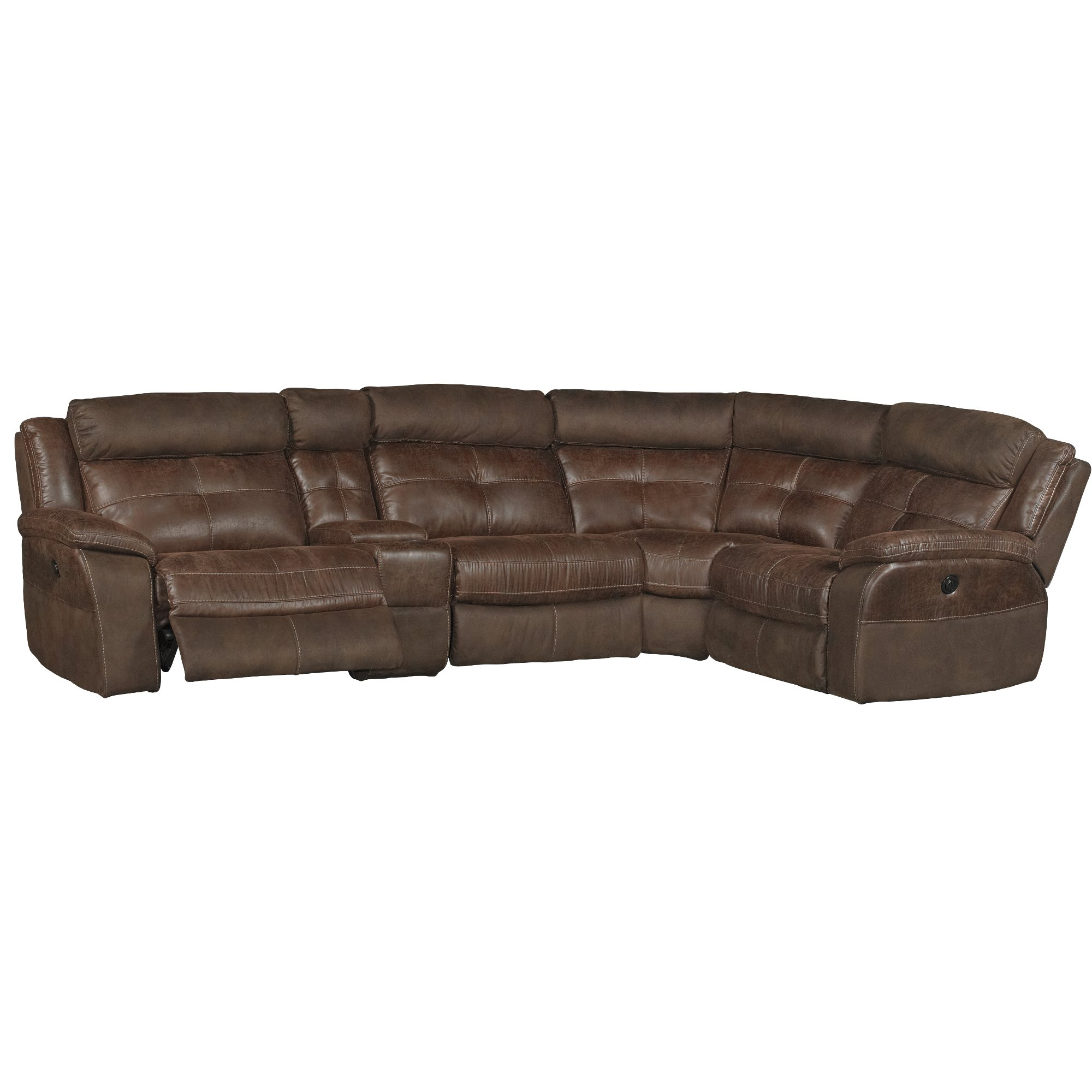 Brown 5 Piece Console Power Reclining Sectional Sofa Denver Rc