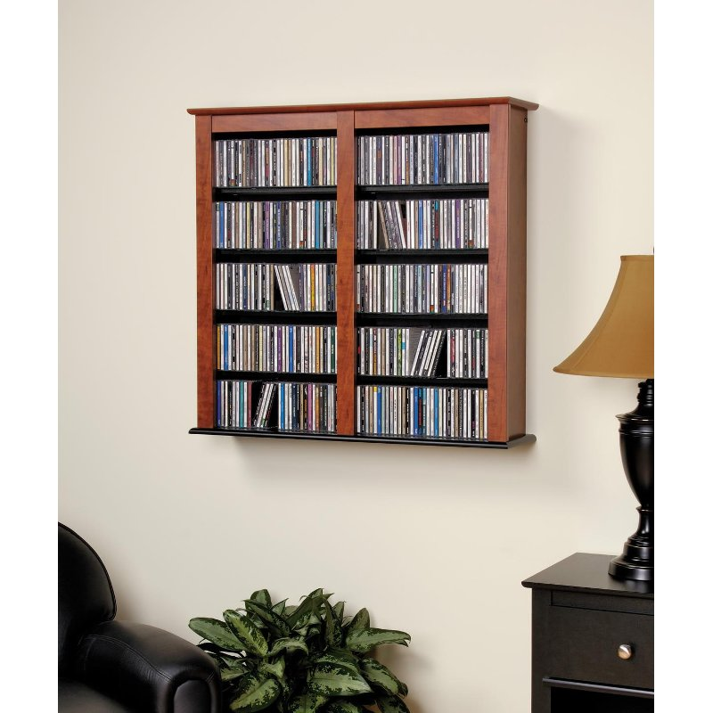 Cherry floating wall mounted media storage for Wall hung media cabinet