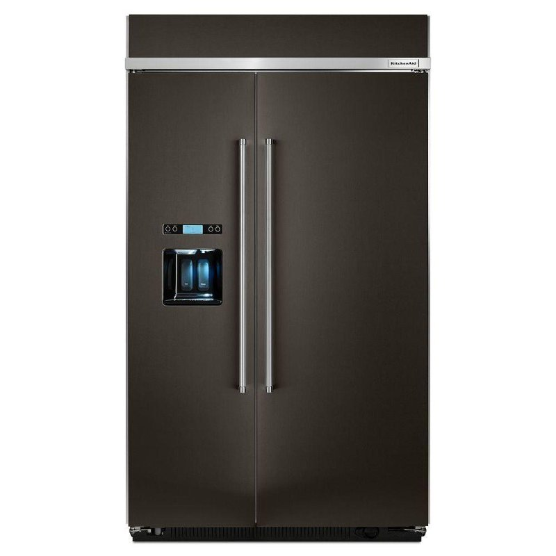 KitchenAid Built in Side by Side Refrigerator - 29.5 cu. ft., 48 Inch Black  Stainless Steel