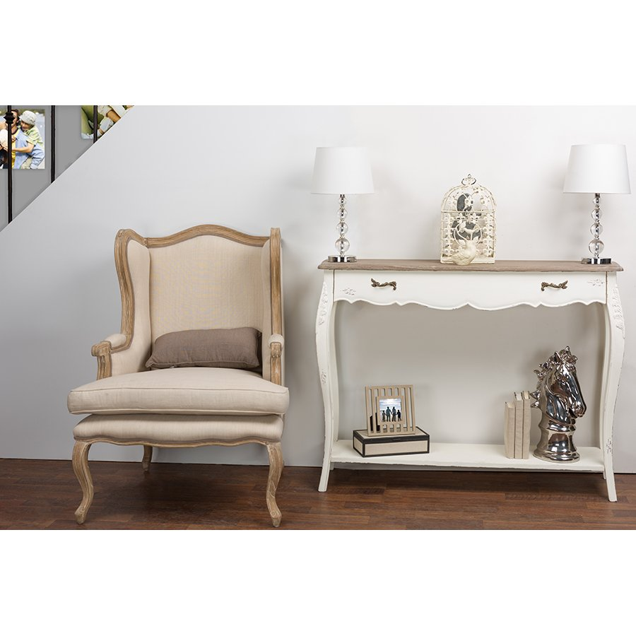 Traditional white console table bourbonnais rc willey furniture store
