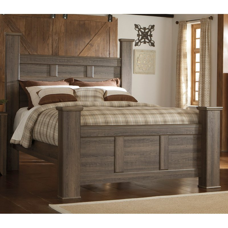 Rustic Modern Driftwood Brown King Size Bed Fairfax Rc