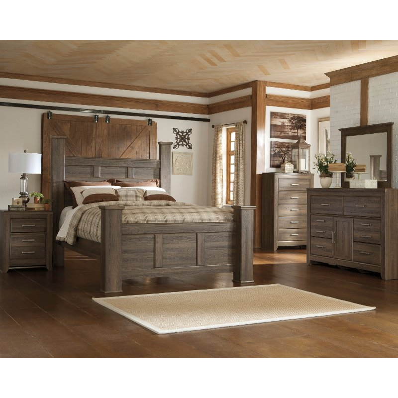Bedroom Furniture Sets Online: Fairfax Driftwood Rustic Modern 6-Piece Queen Bedroom Set